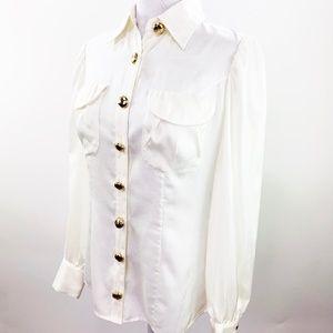 Etcetera Winter White Silk Blend Blouse Size 6 NWT